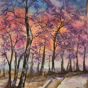 Watercolor painting original not a print trees